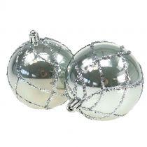 Palla di natale in plastica argento Ø8cm 2 pezzi