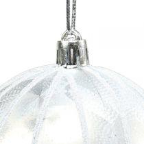 Palla di natale in plastica bianca Ø8cm 2 pezzi