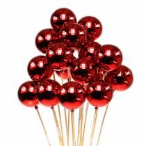 Palla di Natale su bastone Ø6cm rossa 18 pezzi