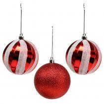 Palline di Natale in plastica rosse, bianche Ø8cm 3 pezzi