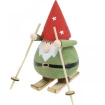 Gnomo su sci decorazione figura legno Gnomo natalizio figura H13cm