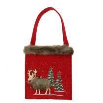 Borsa natalizia rossa con pelliccia 15,5 cm x 18 cm 3 pezzi