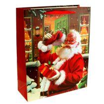 Borsa natalizia con Babbo Natale 32 cm x 26 cm x 10 cm
