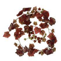 Ghirlanda di foglie di vite rosso scuro 190cm