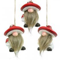 Pixies decorativi in ceramica da appendere con cappello a fungo rosso, bianco H8cm 4pz