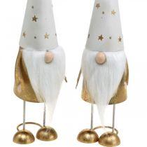 Gnomo decorazione figura Natale bianco, oro 6,5 cm H28 cm 2 pezzi