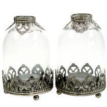 Lanterna in vetro tealight vintage Ø8,5cm H14cm 2 pezzi