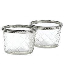 Rombo in vetro tealight con bordo in metallo Ø8cm H5,5cm 4 pezzi