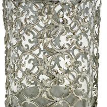 Windlight argento antico Ø8cm H12cm