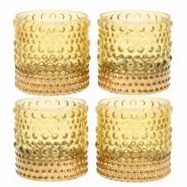 Lanterna in vetro giallo, oro Ø8,5 cm H8 cm 4 pezzi
