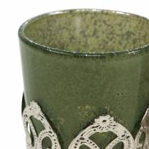 Lanterna vetro metallo decoro verde lilla Ø5,5 cm H5,5 cm 4 pezzi