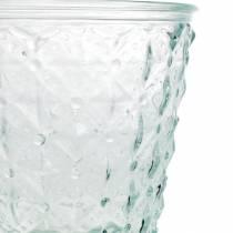 Lanterna in vetro con base trasparente Ø13,5cm H18cm decoro tavola da esterno