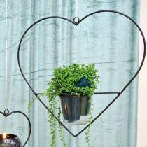 Portacandelina in metallo a forma di cuore leggero da 28 cm per appendere il vetro 9 cm