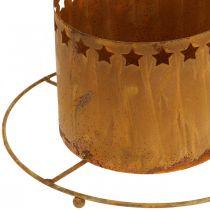 Lanterna con stelle, Avvento, porta ghirlande in metallo, Decorazione natalizia in acciaio inox Ø25cm
