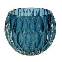 Lanterna in vetro blu scuro Ø11,5cm H9cm