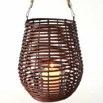 Lanterna decorativa, decoro candela con manico, lanterna nel cesto Ø23cm H27cm