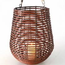 Candela in cesto, lanterna con manico, decoro candela, lanterna a cesto Ø24cm H34cm