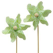 Mulino a vento Mini verde-bianco Ø9cm 12 pezzi