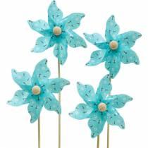 Mulino a vento girandola api turchese Ø8,5 cm decorazione estiva giardino 12 pezzi