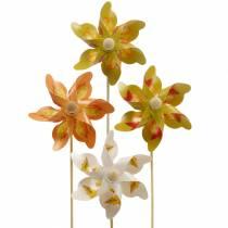 Mulini a vento decorativi con motivo foglia d'autunno arancione / bianco / verde L27,5 Ø22cm 12 pezzi