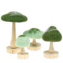 Legno fungo decorativo / feltro verde 8 cm - 15 cm 4 pezzi