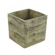 Vaso da fiori quadrato 18x18 cm scatola di cemento aspetto legno