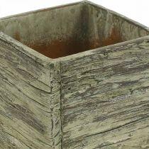 Vaso da fiori quadrato 12x12 cm cubo di cemento aspetto legno