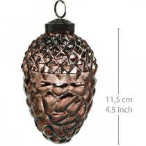 Coni da appendere, decorazioni per alberi, vero vetro, decorazioni autunnali, ottiche antiche Ø7cm H11,5cm 6 pezzi