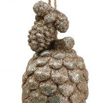 Addobbi natalizie Coni con glitter Oro chiaro 14cm 3 pezzi