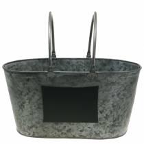 Vaso per fioriera in zinco con manici ovale grigio H20cm