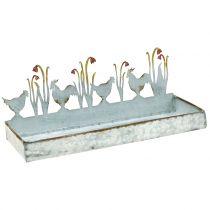Vassoio in zinco Prato di primavera con galli 30cm