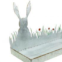 Vassoio di zinco Prato di primavera con coniglietto di Pasqua 35cmx16cm A24cm