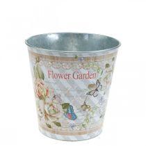 Vaso da fiori con decorazione estiva Fioriera con rose in metallo Ø11,5 cm H10,5 cm