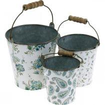 Decorazione primaverile, secchio in metallo, motivo floreale con secchio per piante, decoro in metallo H15 / 11 / 9,5 cm set di 3