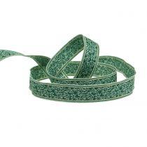 Confezione regalo jacquard cespuglio di bacche con filo verde scuro, menta 25mm L15m
