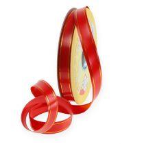 Nastro regalo 2 strisce d'oro su rosso 19mm 100m