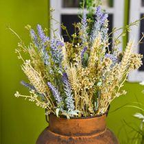 Mazzo di lavanda artificiale, fiori di seta, bouquet di lavanda di campo con spighe di grano e olmaria