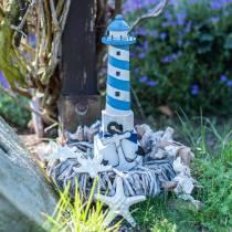 Faro marittimo decorativo azzurro 34cm