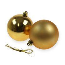 Palline di Natale plastica oro 8 cm 6 pezzi