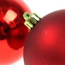 Palline di Natale in plastica rossa 8 cm 6 pezzi