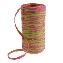 Cinturino in rafia bicolore verde mela-rosa 200m