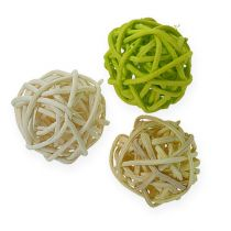 Rattanball verde chiaro, verde pallido, sbiancato 72 pezzi