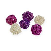 Palla in rattan lilla, viola, sbiancato 72 pezzi