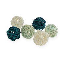 Mix di colori palla in rattan Ø2cm - 2,5cm 72 pezzi