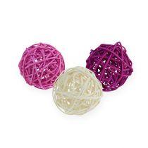 Palla in rattan lilla, viola, sbiancato Ø4,5cm 30 pezzi