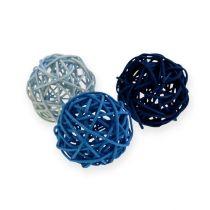 Palla in rattan azzurro, blu, blu scuro 30pz.
