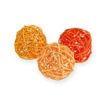 Palline in rattan Ø4,5cm arancione assortite 30 pezzi