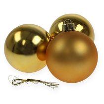Palla di Natale plastica oro 6 cm 12 pezzi