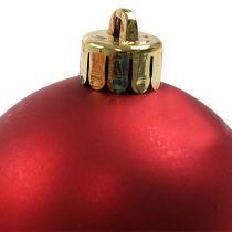 Palla di Natale in plastica rossa Ø6cm 12 pezzi