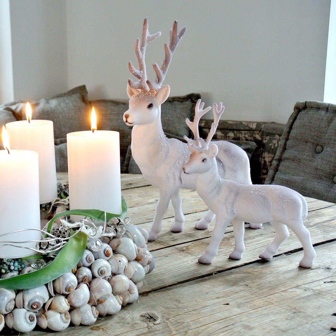 Cervo decorativo affollato / nevicato 27,5 cm 2 pezzi